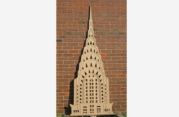 A representation of the famous landmark as part of a New York skyline scene.