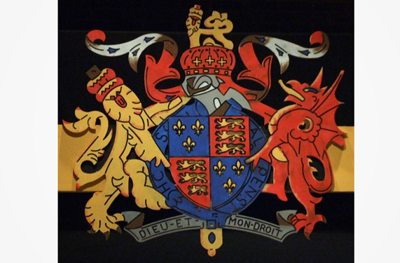 A four foot wide rendition of Henry the Eighths coat of arms. All detail was routed on the face of the piece.