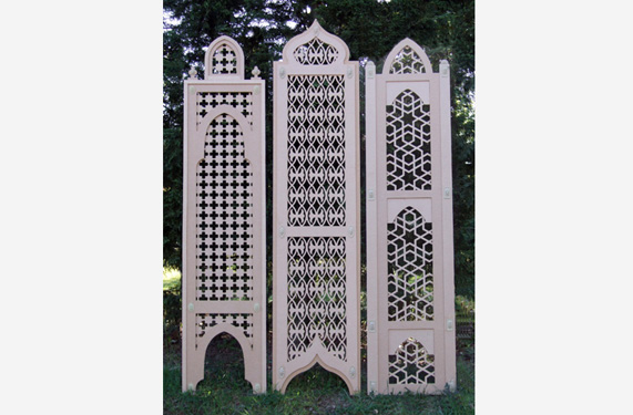 Fretwork doors with complicated geometry cut outs.