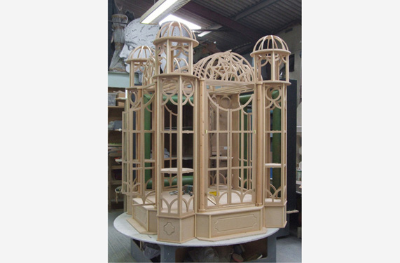 This intricate construction was built as part of a much bigger display, all using very thin routings.