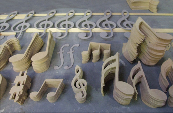 MDF cut outs for a six window display on a musical theme!