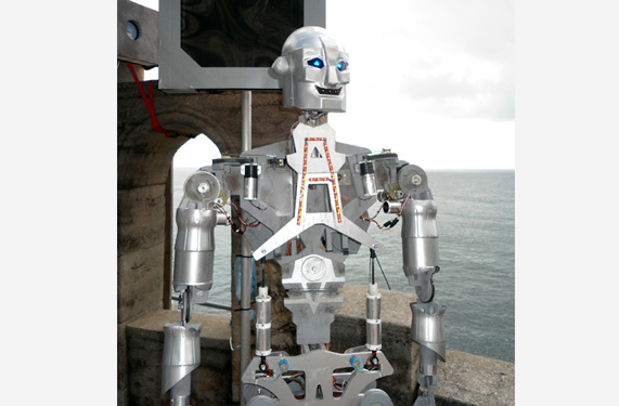 All robot parts were cut from plywood. This fully working theatre prop, built by us, had 14 controls and was operated remotely.